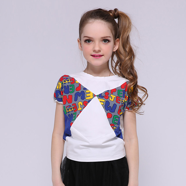 Kids Girls' Tee Short Sleeve Letter Daily Wear Print Children New Year Summer Tops Basic Standard Fit White 5-13 Years