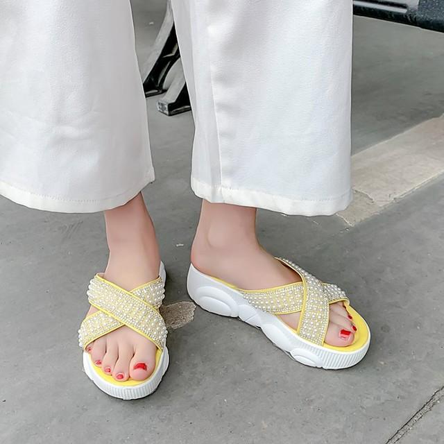 Women's Slippers & Flip-Flops Platform Round Toe PU Synthetics White Black Yellow