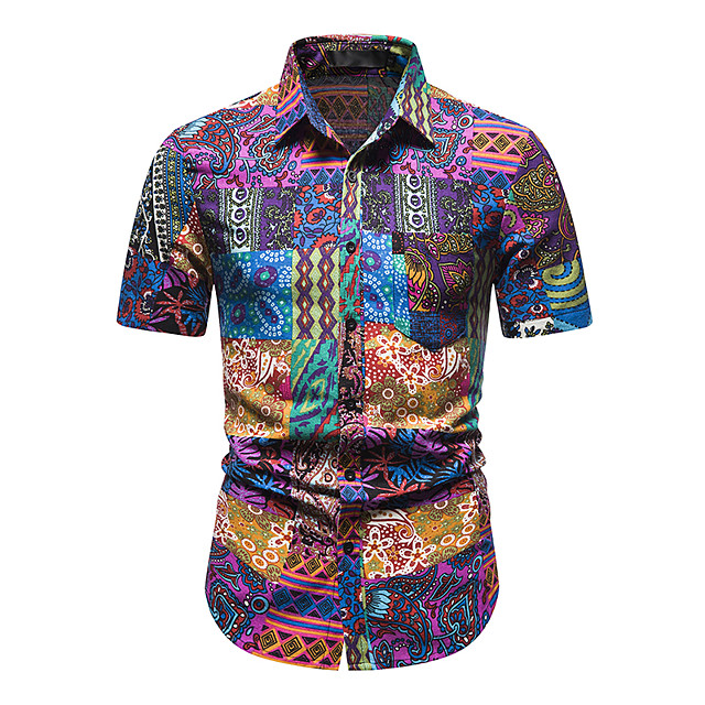 Men's Shirt Other Prints Abstract Short Sleeve Daily Tops 100% Cotton Purple