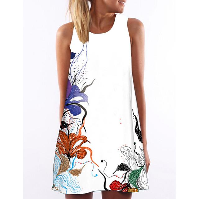 نسائي فستان شكل حرف A فستان ميني أبيض بدون كم ورد الصيف رقبة دائرية أنيق ورد S M L XL XXL