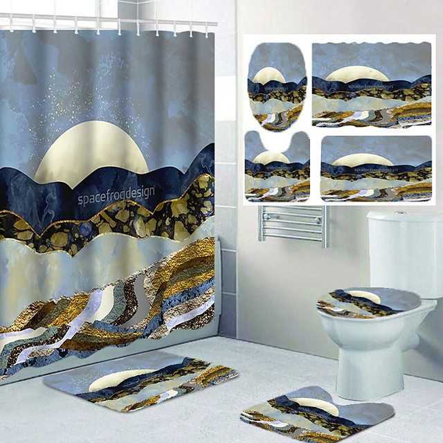 Bathroom Shower Curtains & Hooks Casual Polyester Waterproof