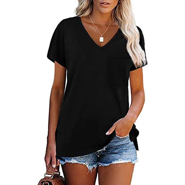 Women's T shirt Plain Pocket V Neck Tops Cotton Basic Basic Top White Black Blue