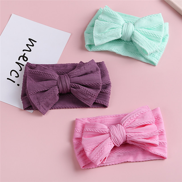 1pcs Infant Girls' Active / Sweet Daily Wear Blue Solid Colored Bow Nylon Hair Accessories Purple / Yellow / Blushing Pink One-Size