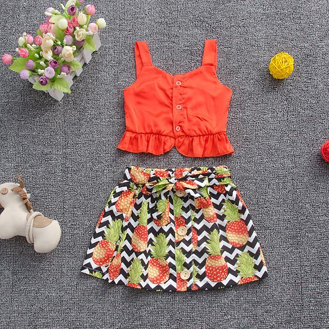 Kids Toddler Girls' Clothing Set Fruit Print Sleeveless Active Regular Orange 2-4 Years