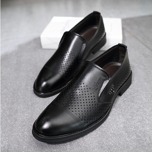 Men's Loafers & Slip-Ons Business Daily Walking Shoes PU Breathable Non-slipping Wear Proof Black Brown Spring