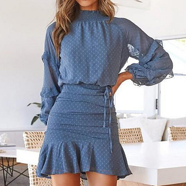 Women's Sheath Dress Short Mini Dress Blue Long Sleeve Polka Dot Solid Color Print Spring Summer Round Neck Casual 2021 S M L XL
