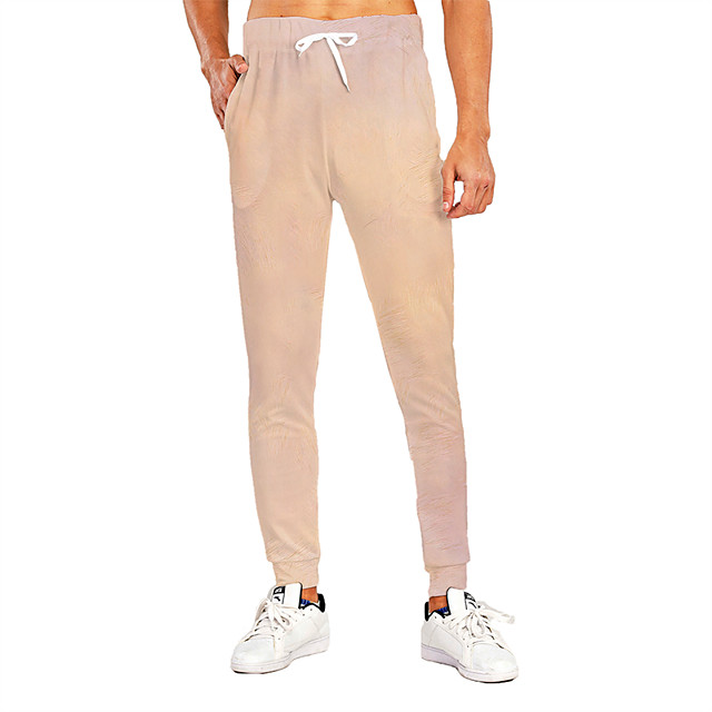 Men's Novelty Casual / Sporty Breathable Quick Dry Sports Casual Holiday Pants Sweatpants Pants Graphic 3D Full Length Print Beige