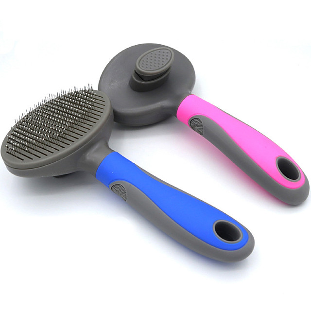 Dog Cat Grooming Cleaning Pet Grooming Brush Plastic Stainless steel Brush Dog Clean Supply Pet Hair Remover Easy to Clean Mats & Tangles Removing Self Cleaning Pet Grooming Supplies Blue Pink