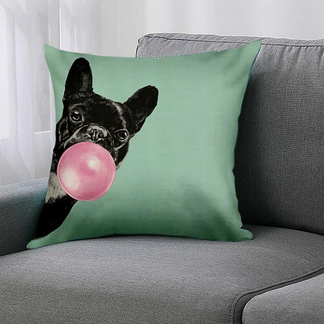 غطاء وسادة حيوان مزدوج الجانب 1 قطعة طباعة 45x45 سم كتان لغرفة نوم الأريكة