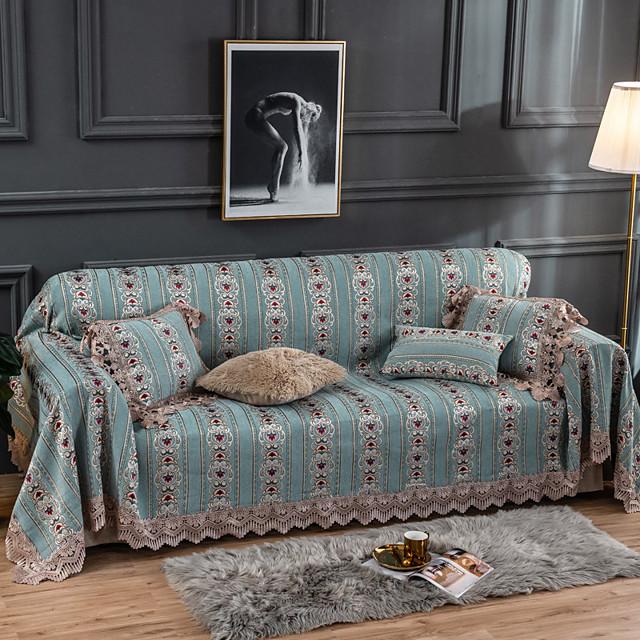 غطاء أريكة متعدد اللون / هندسي مطبوع البوليستر / القطن الأغلفة