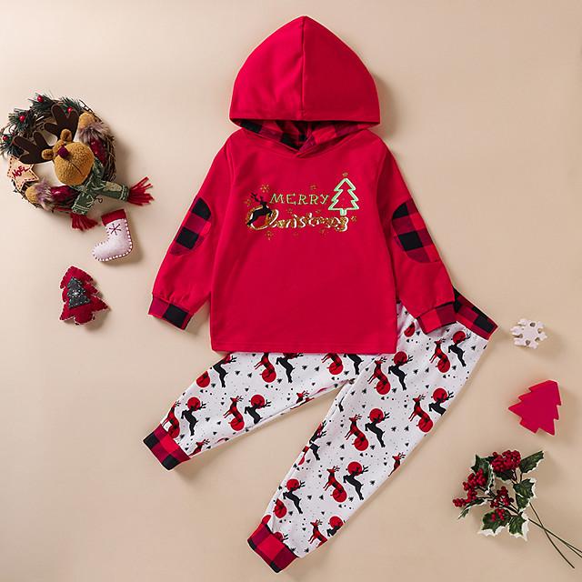Kids Girls' Clothing Set Deer Letter Print Long Sleeve Active Regular Red 3-10 Years