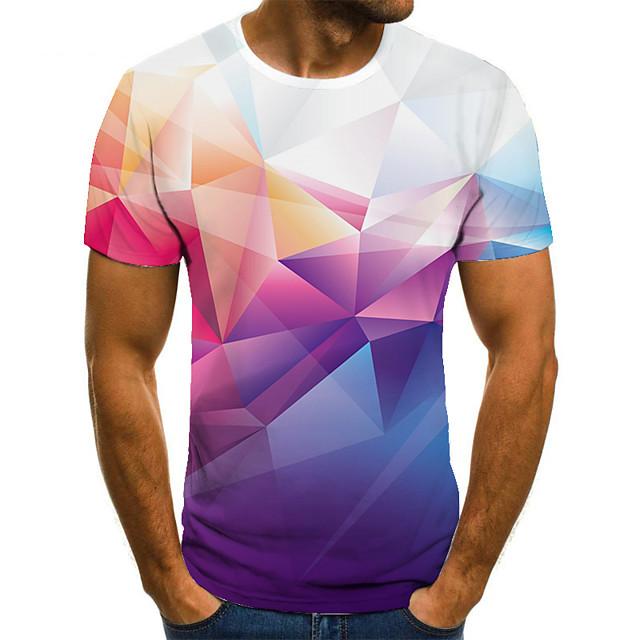 Men's T shirt 3D Print Geometric 3D Print Print Short Sleeve Casual Tops Casual Fashion Blushing Pink