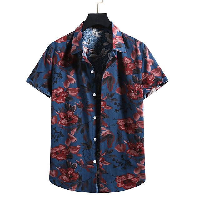 Men's Shirt 3D Print Graphic Prints Print Short Sleeve Vacation Tops Navy Blue