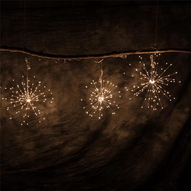 ha condotto i fuochi d'artificio luce della stringa fata esterna impermeabile aa batteria potere bianco caldo appeso starburst luci stringa di vacanza ip65 per il matrimonio patio domestico