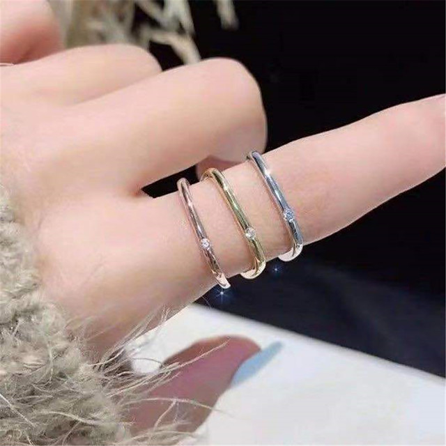Ring Cubic Zirconia Geometrical Rose Gold Gold Silver Rhinestone Alloy Stylish Simple Korean 1pc 5 6 7 8 9 / Women's