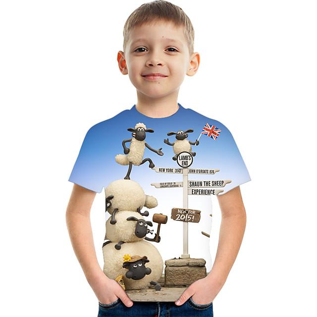 أطفال للصبيان كنزة مطبوعة كم قصير الرسم أطفال قمم نشيط التقزح اللوني 3-12 سنة
