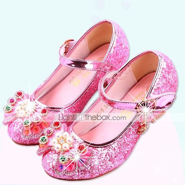 Girls' Heels Moccasin Flower Girl Shoes Children's Day Rubber PU Little Kids(4-7ys) Big Kids(7years +) Daily Party & Evening Walking Shoes Rhinestone Buckle Sequin Pink Dark Blue Silver Fall Spring