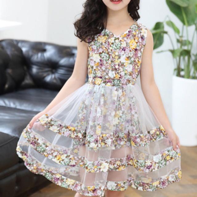 أطفال القليل للفتيات فستان زهور متعدد الطبقات وردي بلاشيهغ كاكي أخضر طول الركبة بدون كم أساسي فساتين الصيف عادي 3-12 سنة