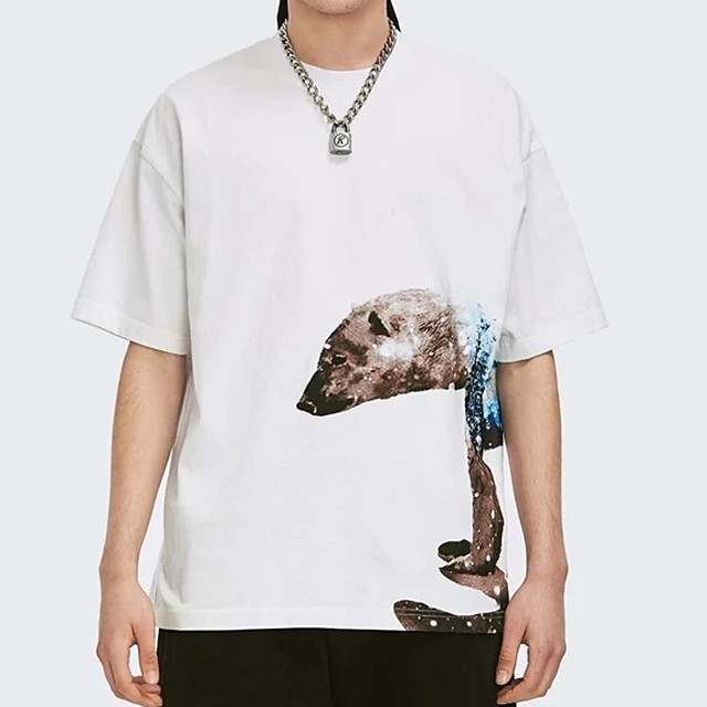 Men's T shirt Hot Stamping Bear Animal Print Short Sleeve Casual Tops 100% Cotton Basic Casual Fashion White