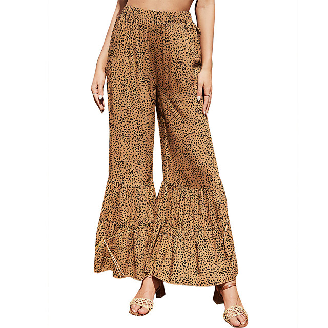 Stylish Vintage Women's Pants Daily Going out Pants Full Length Pattern Leopard Elastic Waist Print Brown