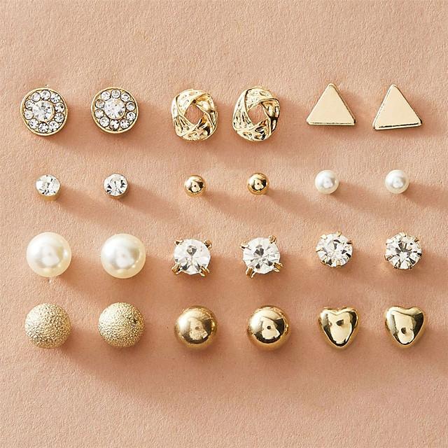 Women's Stud Earrings Earrings Earrings Set Fashion European Imitation Pearl Imitation Diamond Earrings Jewelry Gold / Silver For 12 Pairs