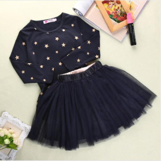 أطفال طفل صغير للفتيات مجموعة ملابس منقط شريطة طباعة كم قصير نشيط عادية أزرق البحرية 2-8 سنوات