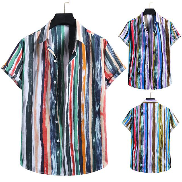 Men's Shirt Other Prints Striped Colorful Print Short Sleeve Casual Tops Tropical Hawaiian Rainbow