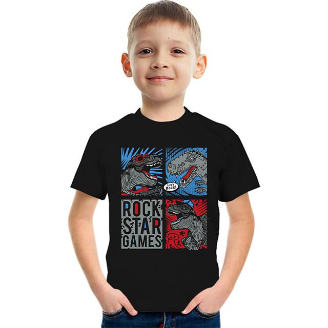 Kids Toddler Boys' Tee Short Sleeve Graphic Children Tops Active Black 3-12 Years