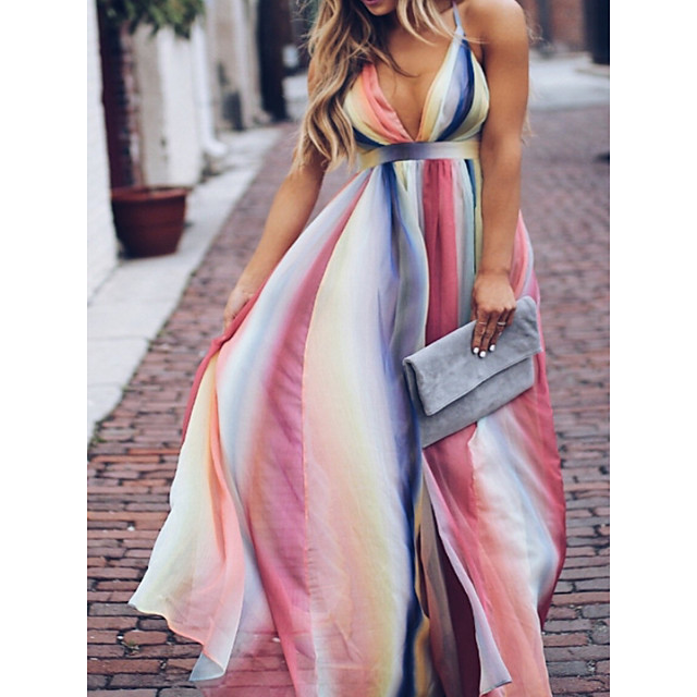 Women's Sheath Dress Maxi long Dress Rainbow Sleeveless Color Gradient Color Block Summer Round Neck Elegant Sexy 2021 S M L XL XXL