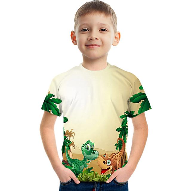 Kids Boys' Tee Short Sleeve Dinosaur Graphic Children Tops Active Yellow