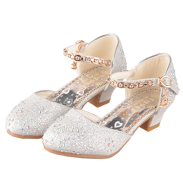 Girls' Heels Flower Girl Shoes Princess Shoes School Shoes Rubber PU Little Kids(4-7ys) Big Kids(7years +) Daily Party & Evening Walking Shoes Rhinestone Sparkling Glitter Buckle Pink Gold Silver