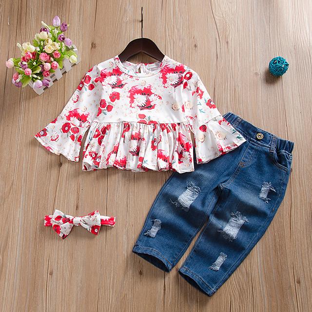 Kids Toddler Girls' Clothing Set Floral Print Long Sleeve Active Regular White 2-4 Years