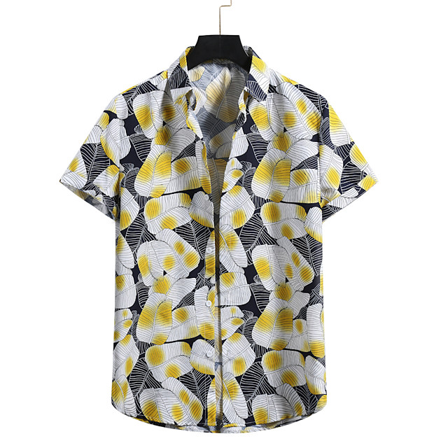 Men's Shirt Other Prints Graphic Short Sleeve Casual Tops Black Red Yellow