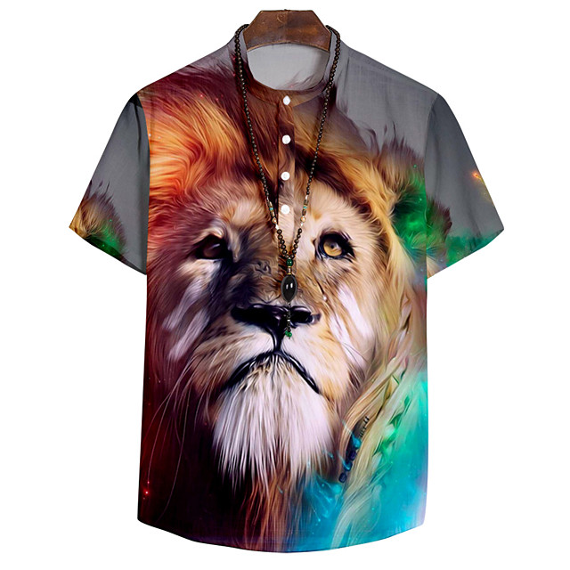 Shirt Men's Lion Animal 3D Print Button-Down 3D Print Casual Short Sleeve Tops Casual Fashion Breathable Comfortable Rainbow