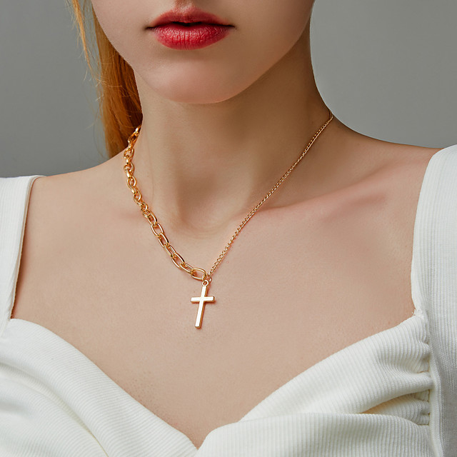 Men's Women's Choker Necklace Necklace Mismatched Cross Simple European Korean Chrome Gold Silver 21-50 cm Necklace Jewelry 1pc For Party Evening Street Prom Birthday Party Festival