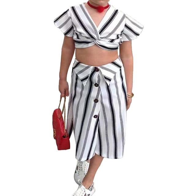 Kids Little Girls' Dress Striped Print White Midi Short Sleeve Basic Dresses Regular Fit