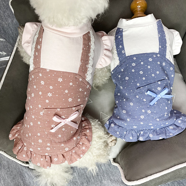 Dog Cat Dress Bowknot Basic Elegant Sweet Dailywear Casual / Daily Dog Clothes Puppy Clothes Dog Outfits Breathable Red Blue Costume for Girl and Boy Dog Cotton XS S M L XL XXL