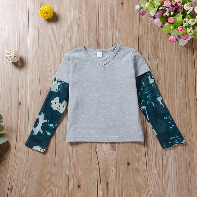 Toddler Boys' Tee Long Sleeve Tie Dye Print Children Spring Tops Active Regular Fit Gray 3-6 Years