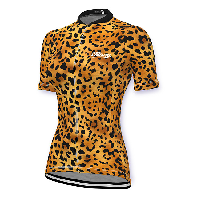 21Grams Women's Short Sleeve Cycling Jersey Spandex Yellow Leopard Bike Top Mountain Bike MTB Road Bike Cycling Breathable Sports Clothing Apparel / Stretchy / Athleisure