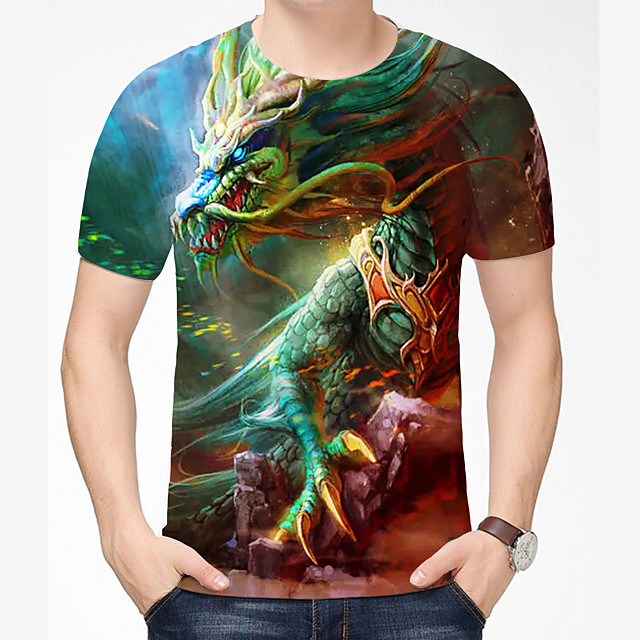 Men's T shirt 3D Print Dragon Graphic 3D Plus Size 3D Print Short Sleeve Daily Tops Chinese Style Casual Gray / Navy Grey Green