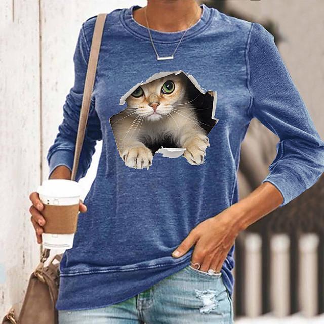 Women's T shirt Cat Graphic 3D Long Sleeve Print Round Neck Tops Basic Basic Top Black Blue Yellow