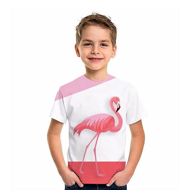أطفال للصبيان تي شيرت كنزة مطبوعة كم قصير طيور النحام الرسم 3D حيوان طباعة أطفال قمم نشيط وردي بلاشيهغ