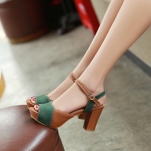 Women's Sandals Chunky Heel Peep Toe PU Synthetics Green Beige