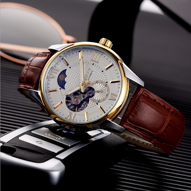Men's Mechanical Watch Analog Automatic self-winding Stylish Noctilucent / One Year / Titanium Alloy / PU Leather