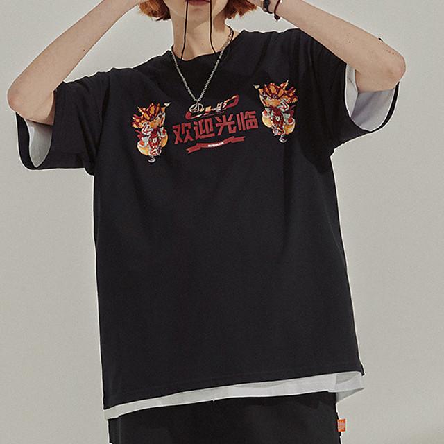 Men's Unisex T shirt Hot Stamping Graphic Prints PekingOpera Plus Size Print Short Sleeve Casual Tops 100% Cotton Basic Chinese Style Casual White Black