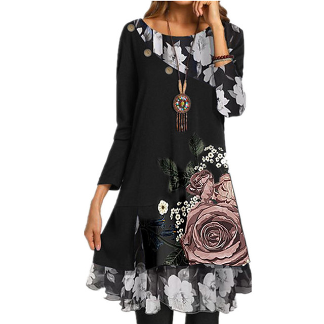 نسائي فستان من الشيفون فستان طول الركبة أسود كم طويل ورد الخريف الربيع رقبة دائرية كاجوال 2021 S M L XL XXL 3XL