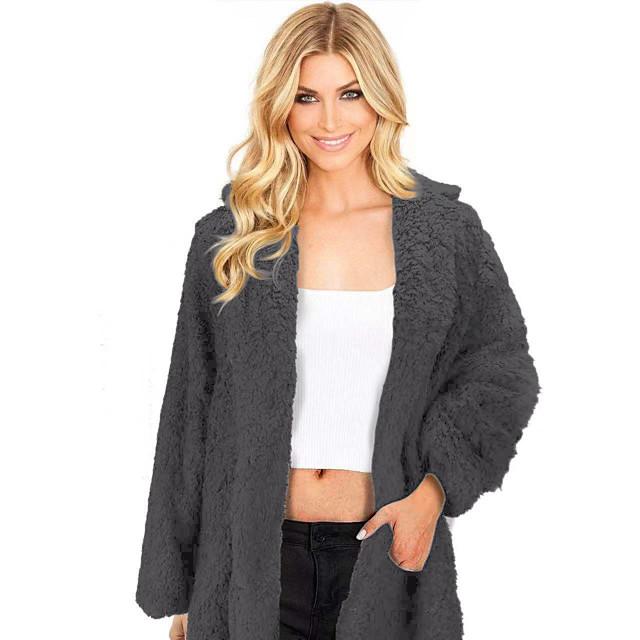 Per donna Tinta unita Autunno inverno Cappotto teddy Standard Quotidiano Manica lunga Pelliccia sintetica Cappotto Top Nero