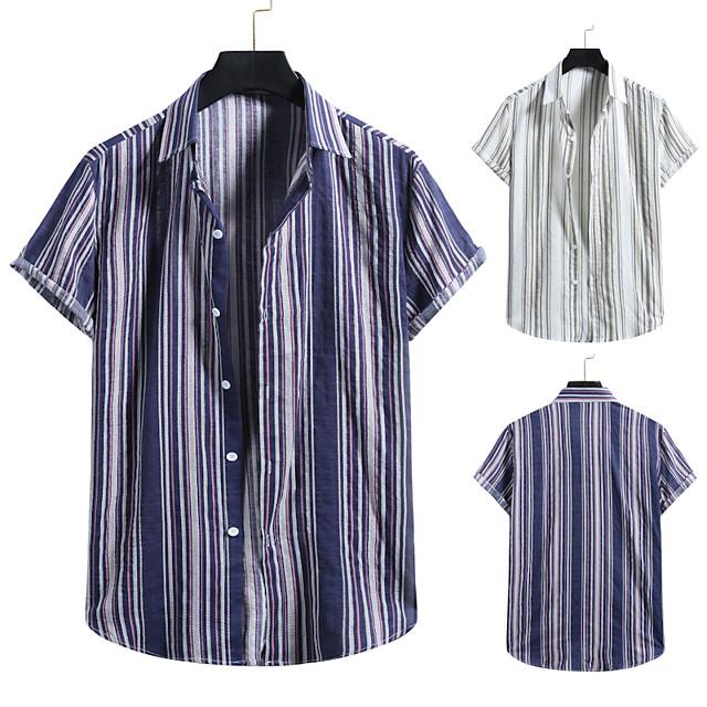 Men's Shirt Other Prints Striped Print Short Sleeve Casual Tops Beach Hawaiian White Navy Blue