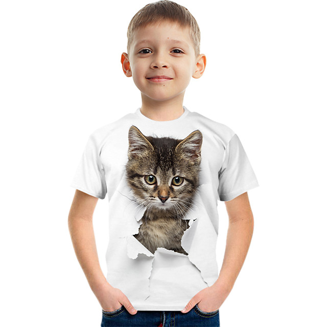 Kids Boys' Tee Short Sleeve Graphic Animal Children Tops Active White