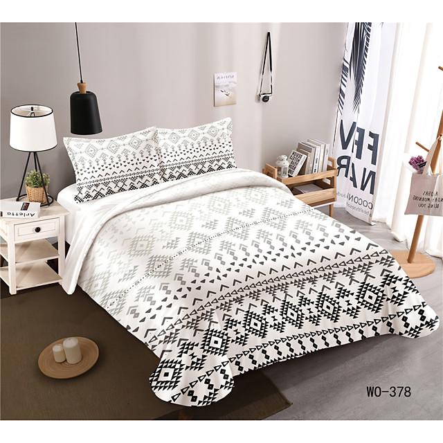 طقم أغطية لحاف مكون من 3 قطع أطقم أغطية سرير للفنادق وغطاء لحاف مع ألياف دقيقة ناعمة وخفيفة الوزن ، بما في ذلك غطاء لحاف واحد وغطاء وسادات لشخصين / كوين / كينج